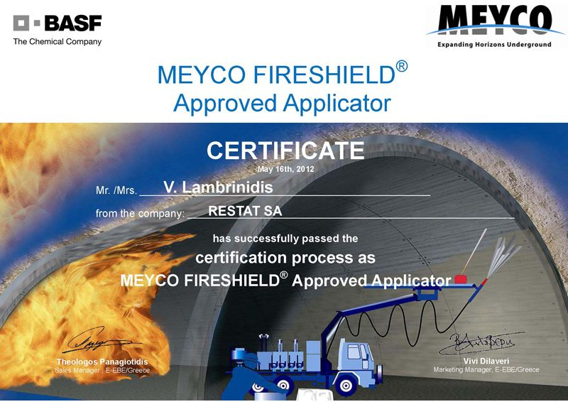 RESTAT CERTIFICATE FIRESHIELD APPLICATOR